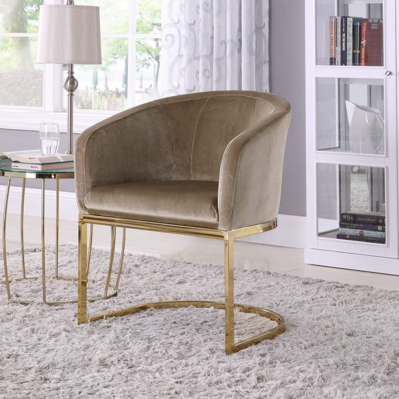 Iconic Home Siena Shell Accent Chair Velvet Upholstered U-Shaped Gold Plated Solid Metal Base-Taupe-FAC9098-CHB