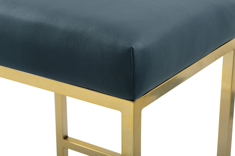 Iconic Home Skyler Bar Stool Chair PU Leather Backless Seat Goldtone Solid Metal Base-