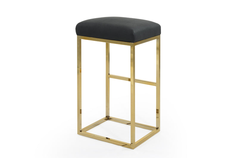 Iconic Home Skyler Bar Stool Chair PU Leather Backless Seat Goldtone Solid Metal Base-Black-FBS9457-CHB