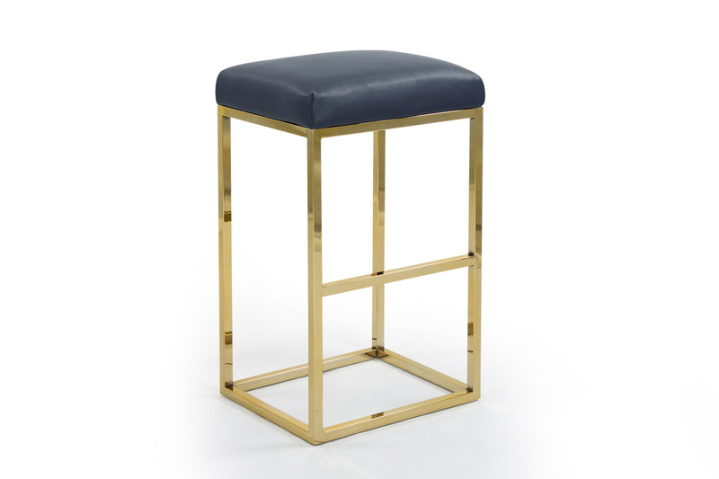 Iconic Home Skyler Bar Stool Chair PU Leather Backless Seat Goldtone Solid Metal Base-Blue-FBS9456-CHB