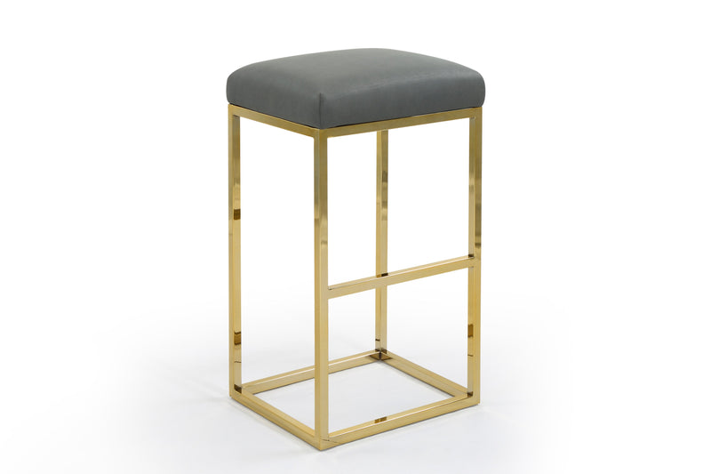 Iconic Home Skyler Bar Stool Chair PU Leather Backless Seat Goldtone Solid Metal Base-Grey-FBS9455-CHB
