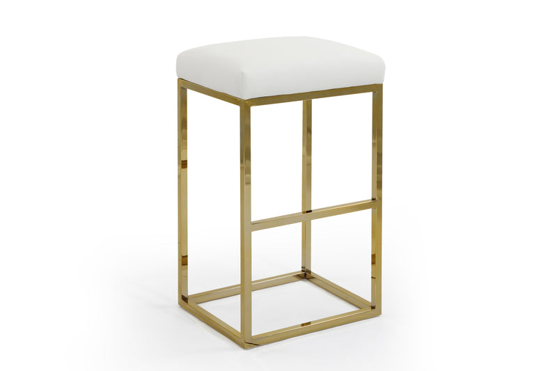 Iconic Home Skyler Bar Stool Chair PU Leather Backless Seat Goldtone Solid Metal Base-White-FBS9458-CHB