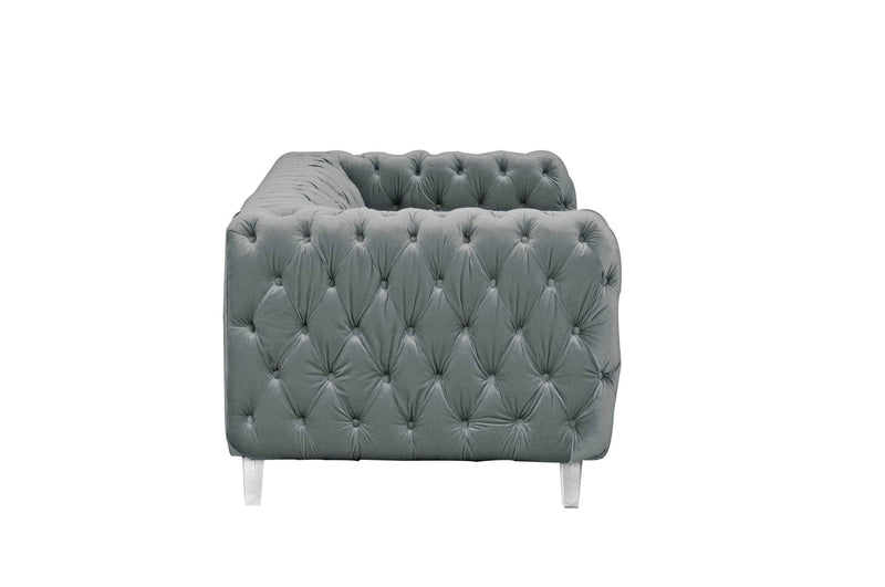 Iconic Home Syracus Tufted Velvet Plush Club Sofa-