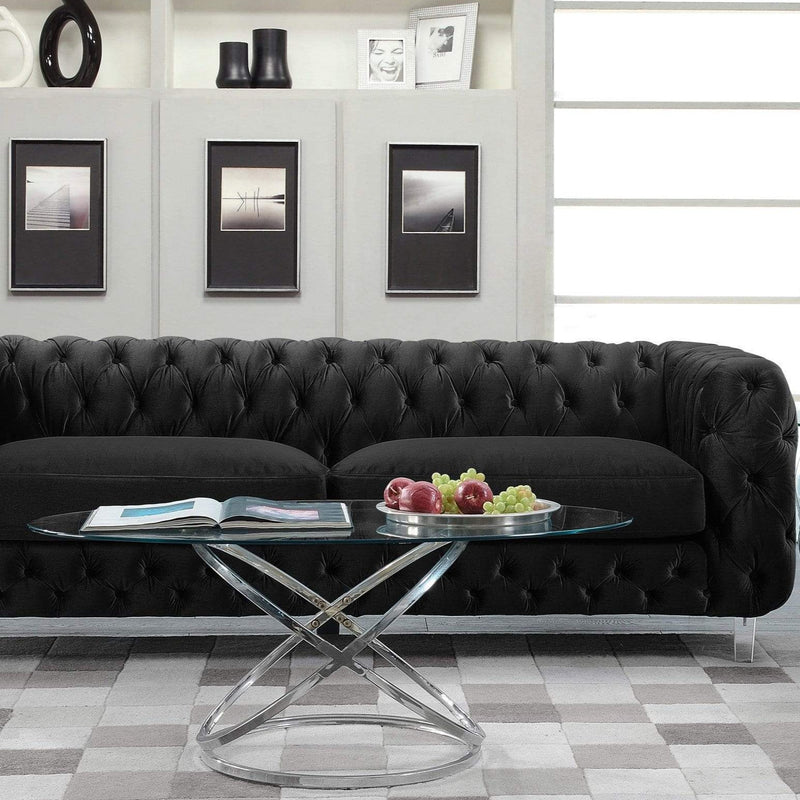 Iconic Home Syracus Tufted Velvet Plush Club Sofa-Black-FSA2654-CHB