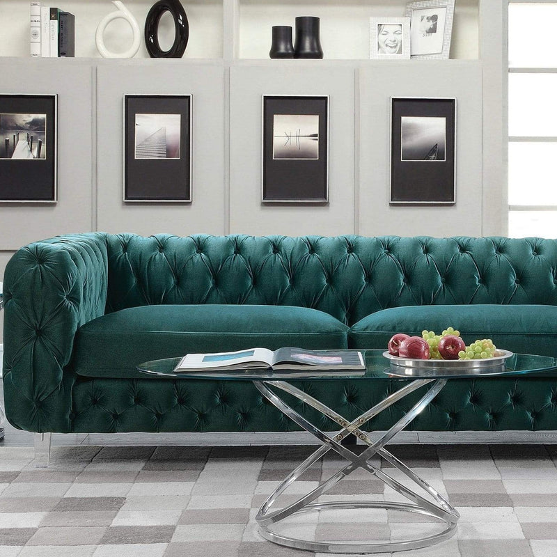 Iconic Home Syracus Tufted Velvet Plush Club Sofa-Green-FSA2656-CHB