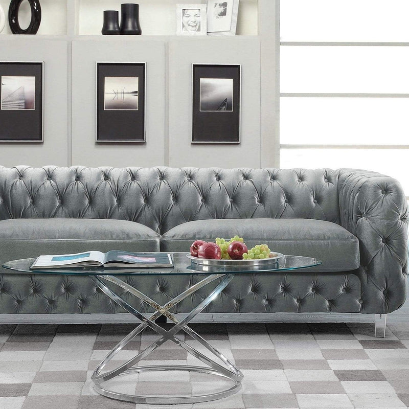 Iconic Home Syracus Tufted Velvet Plush Club Sofa-Grey-FSA2655-CHB