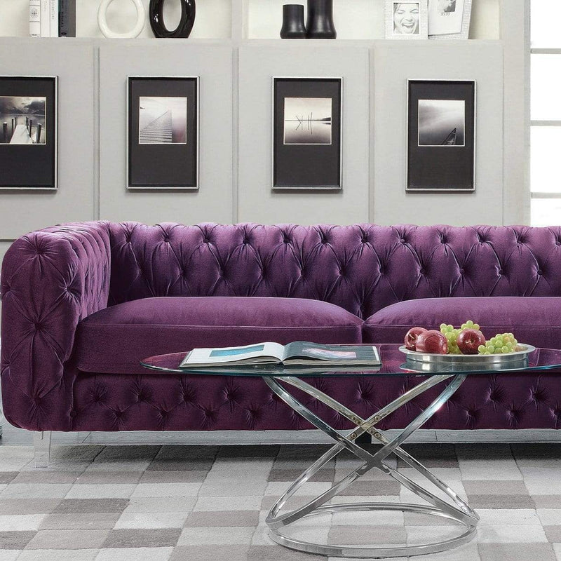 Iconic Home Syracus Tufted Velvet Plush Club Sofa-Purple-FSA2657-CHB