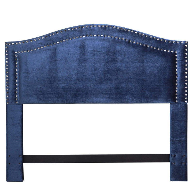 Iconic Home Tal Headboard Velvet Upholstered Double Row Nailhead Trim-