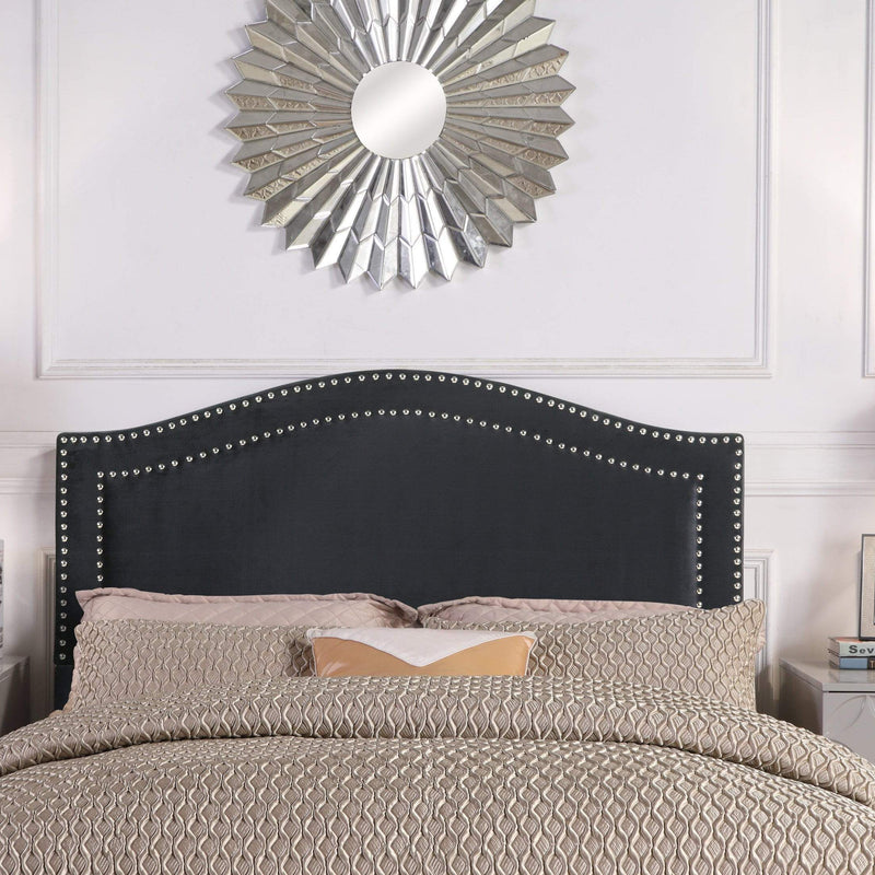 Iconic Home Tal Headboard Velvet Upholstered Double Row Nailhead Trim-Black-FHB9063-CHB