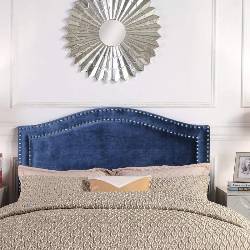 Iconic Home Tal Headboard Velvet Upholstered Double Row Nailhead Trim-Navy-FHB9062-CHB