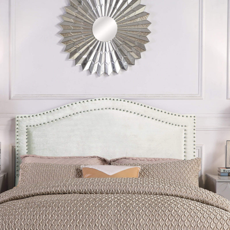 Iconic Home Tal Headboard Velvet Upholstered Double Row Nailhead Trim-Silver-FHB9061-CHB