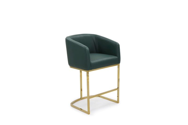 Iconic Home Tess Counter Stool Chair PU Leather Shelter Arm U-shaped Goldtone Solid Metal Base-