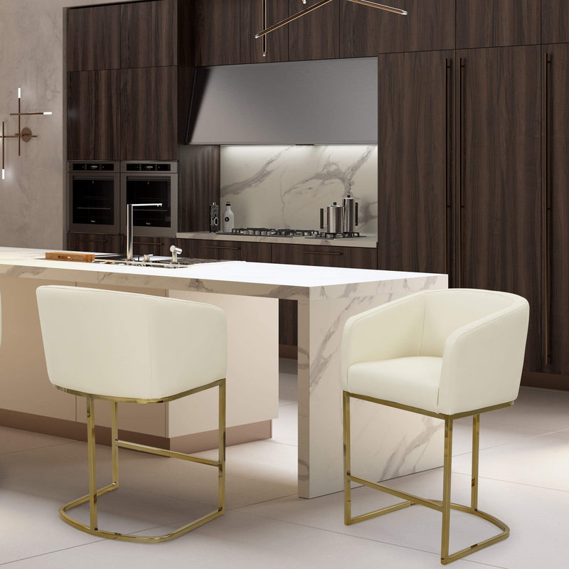 Iconic Home Tess Counter Stool Chair PU Leather Shelter Arm U-shaped Goldtone Solid Metal Base-Cream-FCS9468-CHB