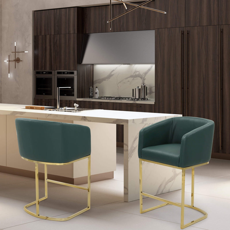 Iconic Home Tess Counter Stool Chair PU Leather Shelter Arm U-shaped Goldtone Solid Metal Base-Green-FCS9470-CHB