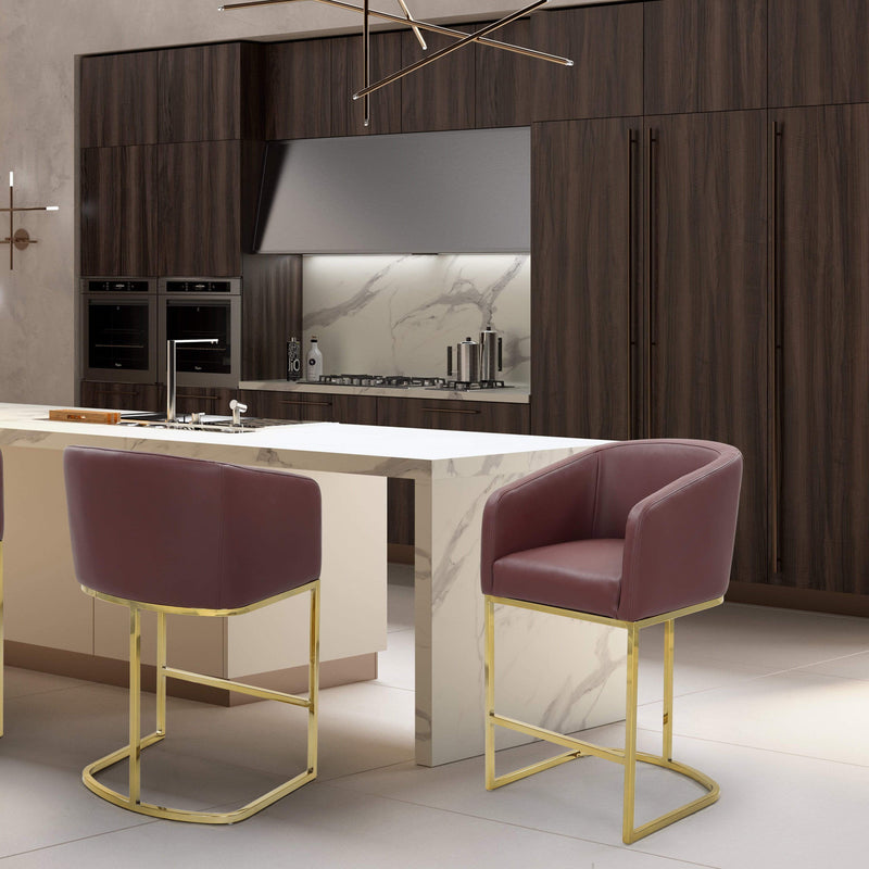 Iconic Home Tess Counter Stool Chair PU Leather Shelter Arm U-shaped Goldtone Solid Metal Base-Wine-FCS9469-CHB