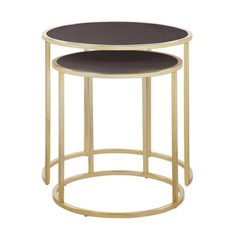 Iconic Home Tuscany Nesting Table 2 Piece PU Leather Top Gibbous Moon Gold Solid Metal Frame-