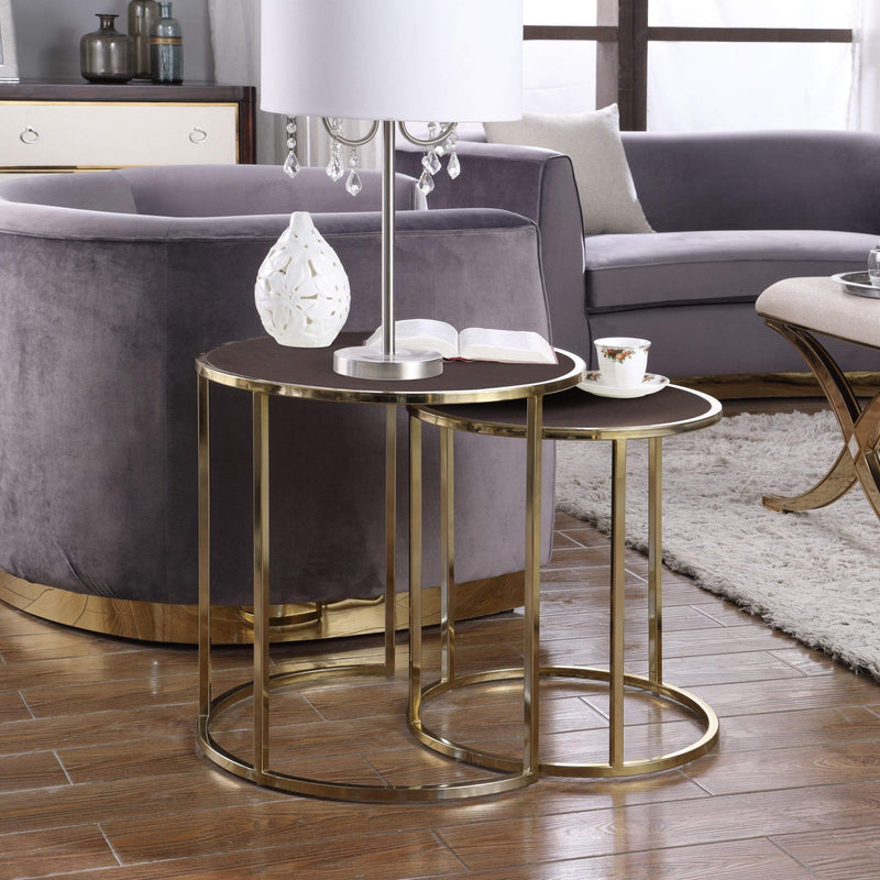 Iconic Home Tuscany Nesting Table 2 Piece PU Leather Top Gibbous Moon Gold Solid Metal Frame-Brown-FST2965-CHB