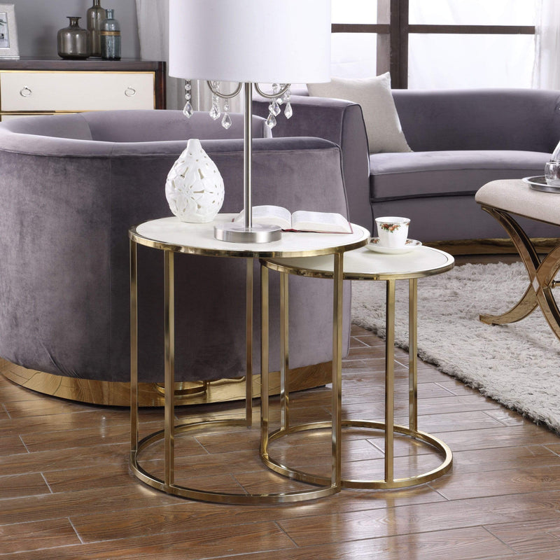 Iconic Home Tuscany Nesting Table 2 Piece PU Leather Top Gibbous Moon Gold Solid Metal Frame-Cream-FST2964-CHB