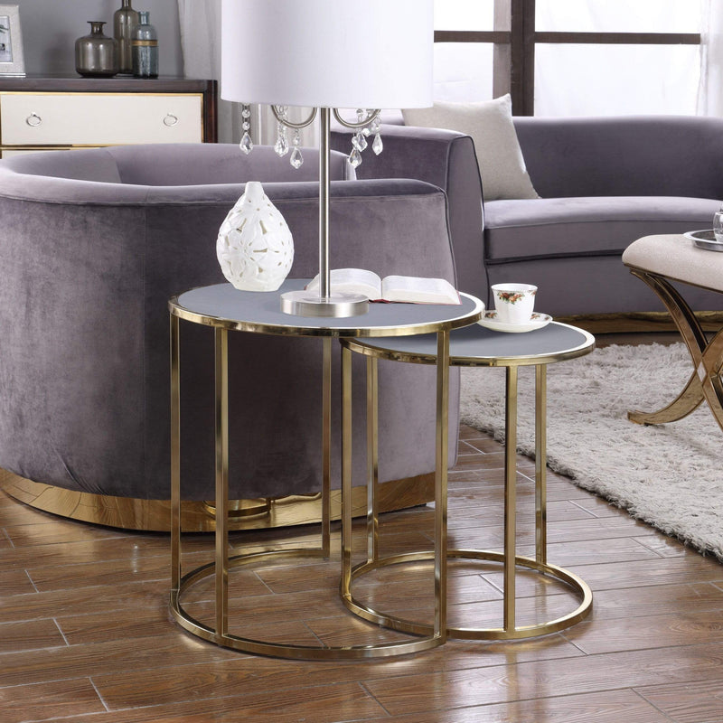 Iconic Home Tuscany Nesting Table 2 Piece PU Leather Top Gibbous Moon Gold Solid Metal Frame-Grey-FST2966-CHB