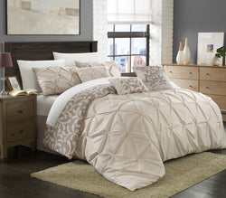 Chic Home Trenton Peyton Trina Trefort Trinton Tarry 11 Piece Comforter Set Reversible Pinch Pleat Pintuck Print Bed in a Bag Plum Main Image