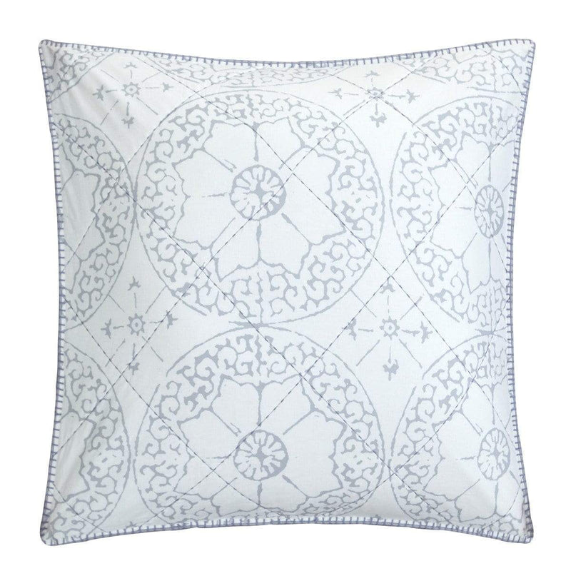 Lux Bed Grand Palace 1 Piece 100% Cotton Euro Sham Ikat Medallion Stitched Ivory White-LBES0752-CHB