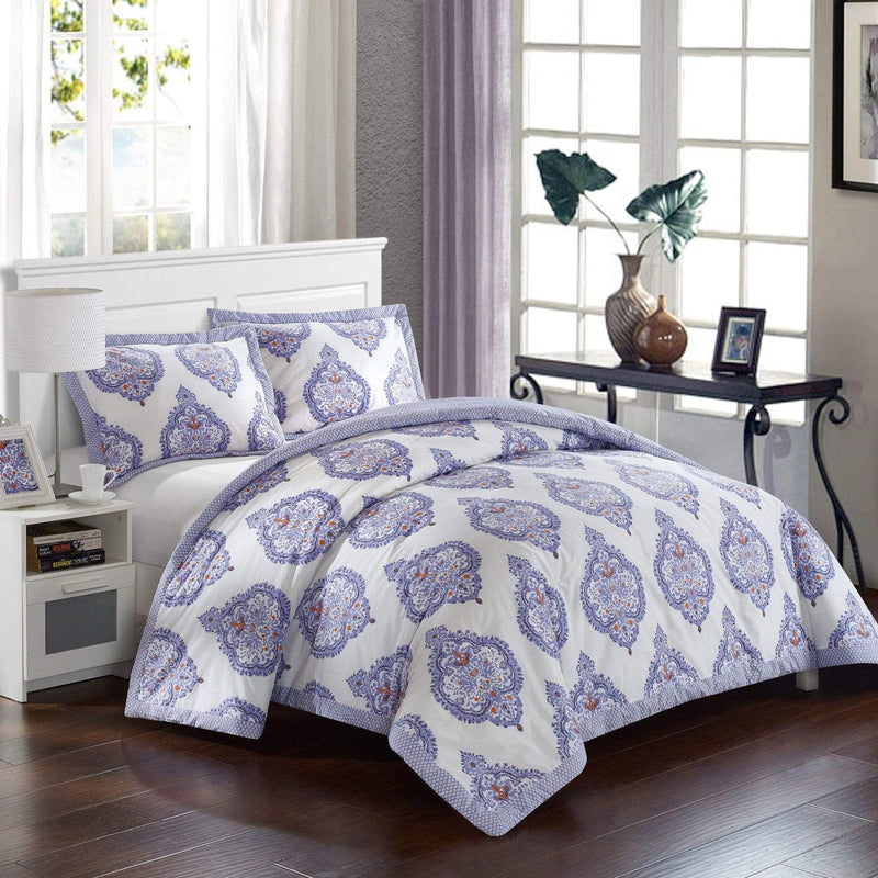 Lux Bed Grand Palace 3 Piece 100% Cotton Duvet Cover Set Reversible Global Inspired Print Lavender