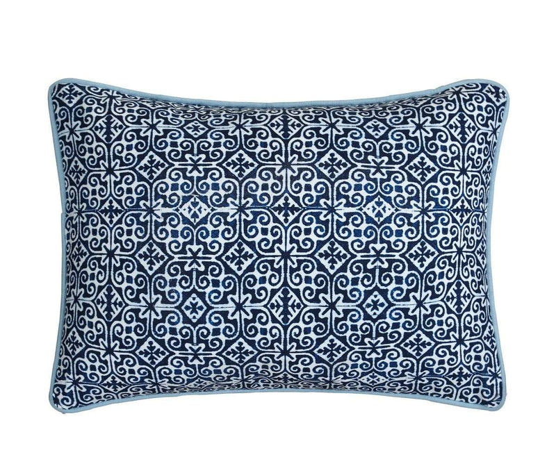Lux Bed Magical Medallion 1 Piece 100% Cotton Oblong Decorative Pillow Shibori Pattern Blue-LBDP0659-CHB
