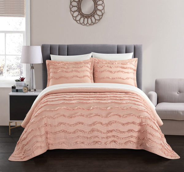 Chic Home Meghan 1 Piece Pillow Sham 100% Cotton Wave Pattern Ruffled with Flanged Border Blush - Chic Home Design