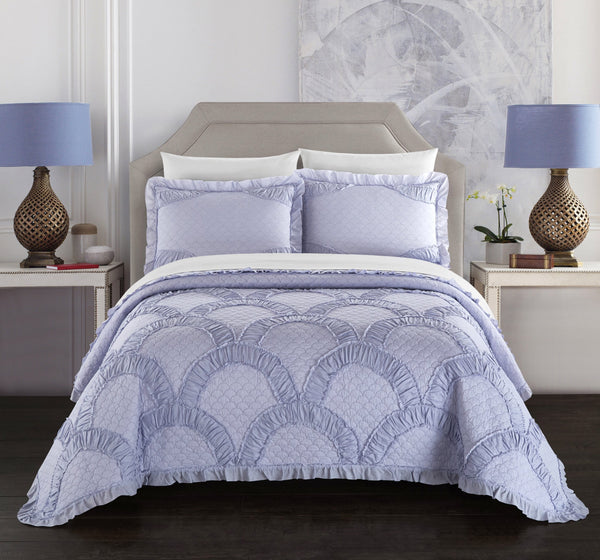 Chic Home Finna 1 Piece Pillow Sham 100% Cotton Fish Scale Pattern Ruched Flanged Border Lavender - Chic Home Design
