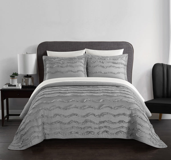 Chic Home Meghan Danaya Natalya Anthea Richanne Jalyn 1 Piece Pillow Sham 100% Cotton Wave Pattern Ruffled with Flanged Border Grey Main Image