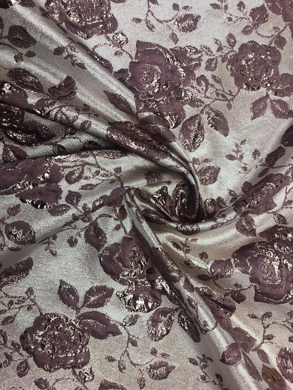 Forest flower metallic brocade