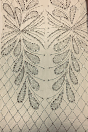 3D hand beaded leaf lace