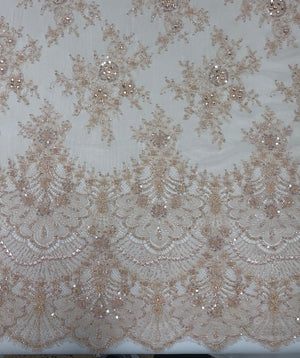 Hand Beaded Chantely lace