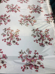 maiden flower silky printed polyster lame