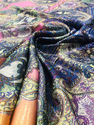 Magnolia print silky polyester lame