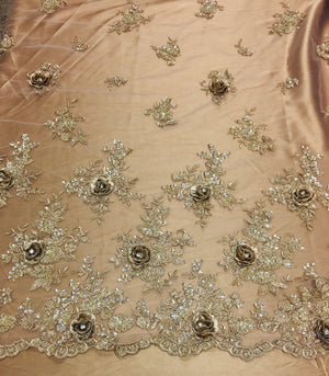 3D Hand beaded metallic Fabric