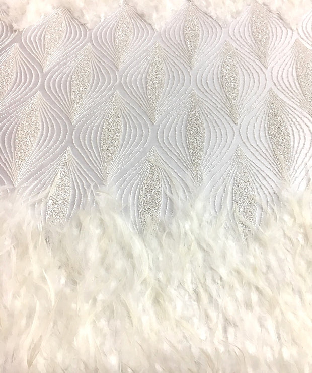 Feathered 3D Hand Beaded Lace