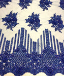 Royal Blue Hand Beaded Lace