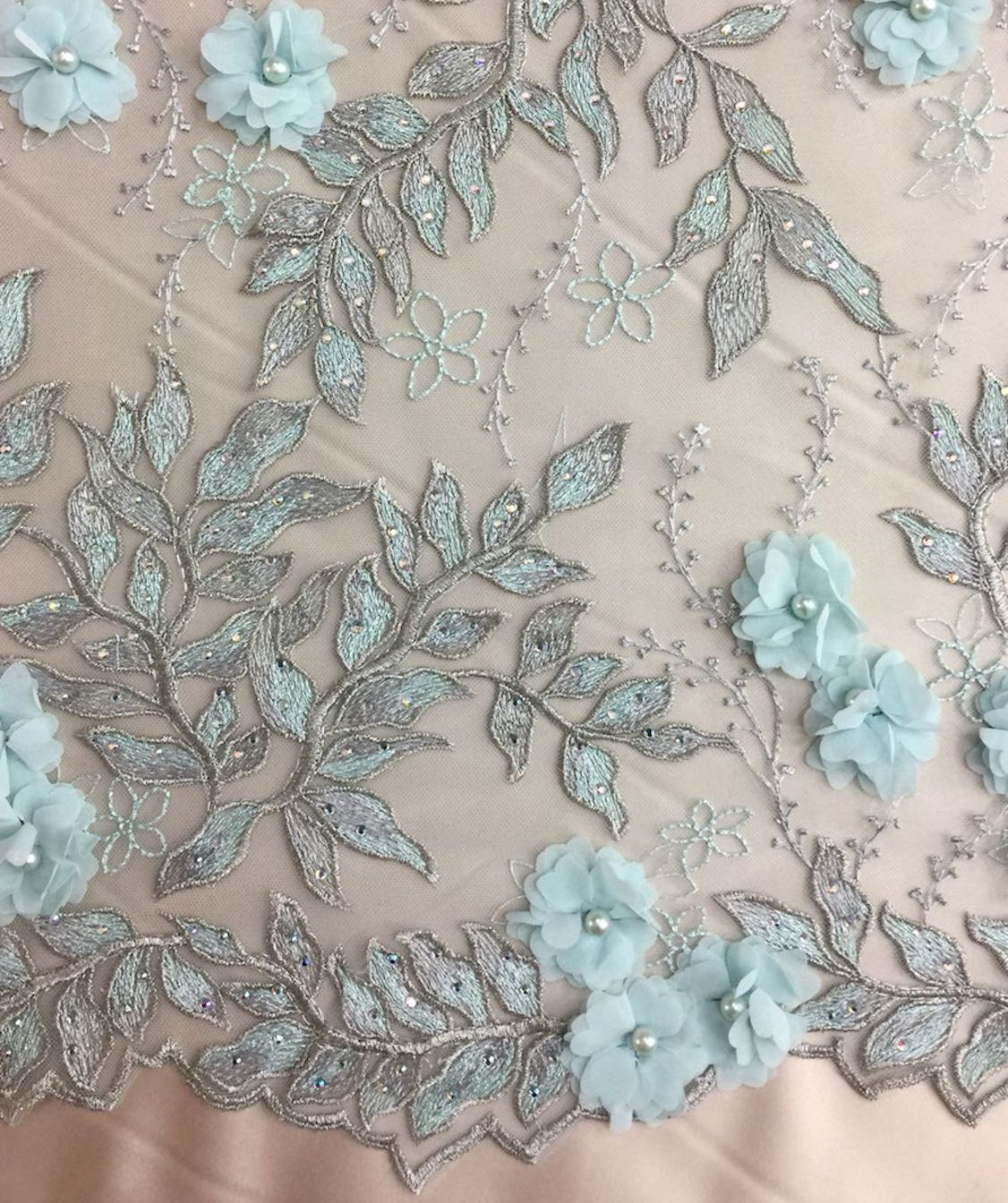 Pearl 3d Hand Beaded Lace