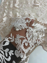 Cathedral French lace bridal on nude mesh.