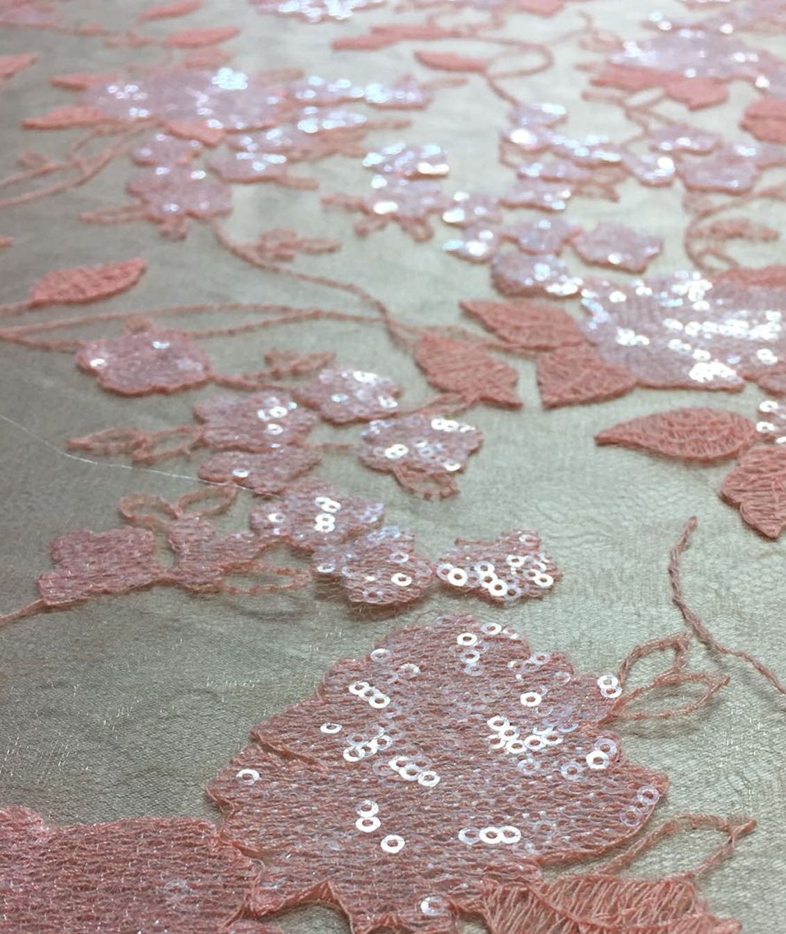 Peach Sequin French Lace