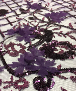 Purple 3d Sequin Lace