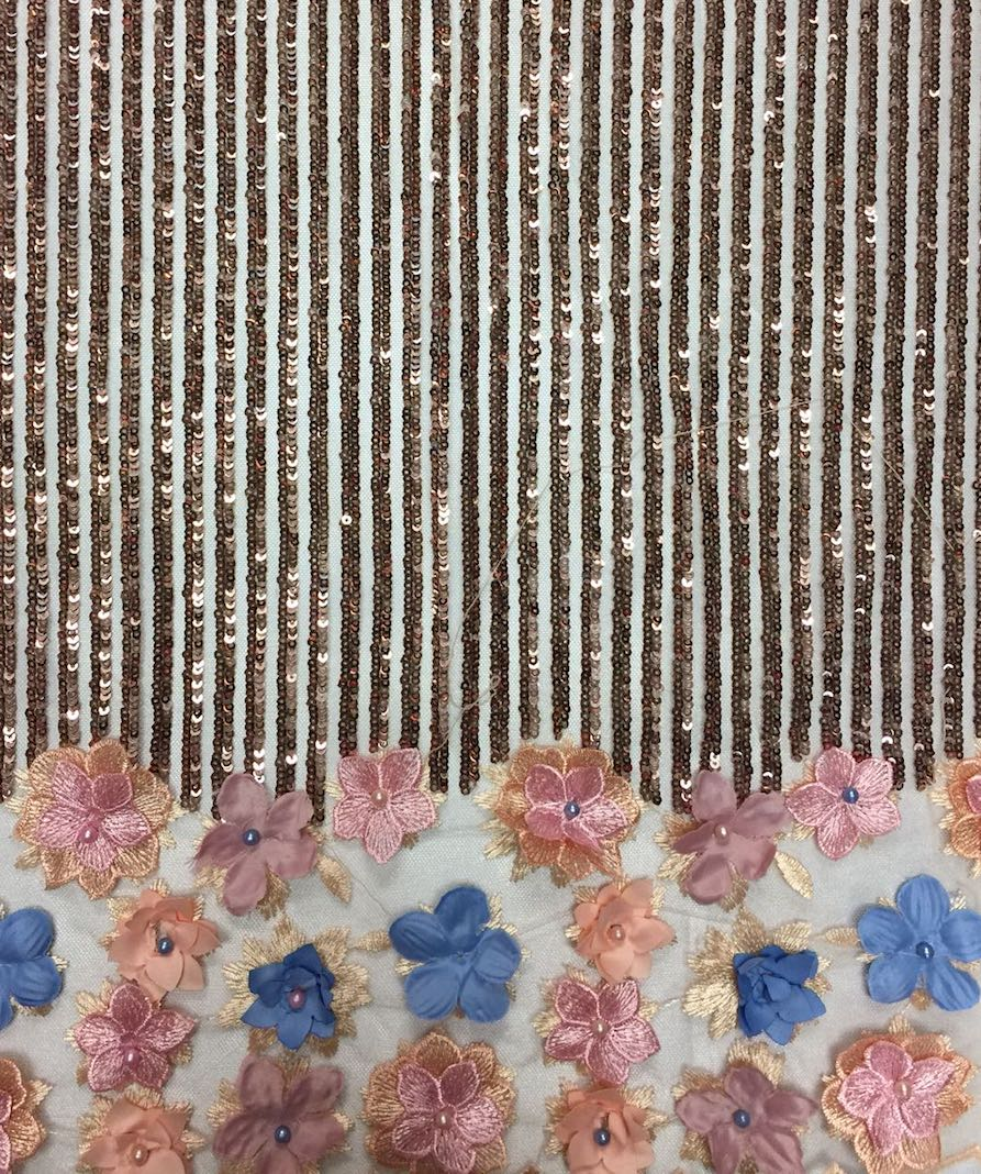 Rose Gold 3d Sequin Lace