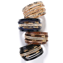 Snakeskin Pattern Leather Bracelet Metal Pipe Wide Multi-layer Wrap Bracelet