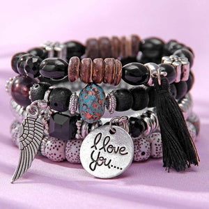 BOHO Bohemian bracelets 4pcs/set WITH wings heart  lava stone