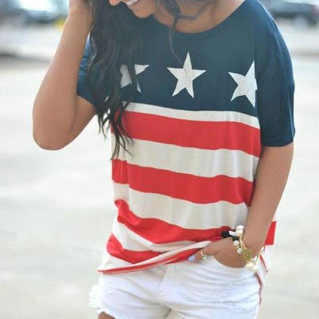 47f1965a645807 Women T-Shirt American Flag Star Striped Print O-Neck Short Sleeve 2018 Independence  Day Top Female Shirt Girl Tops Casual Tees