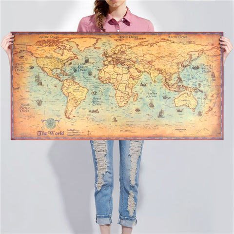 World Map Deluxe Vintage Poster
