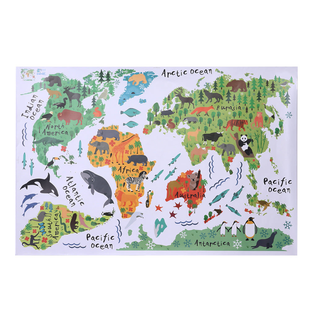 Fauna & Flora World Map Stickers