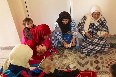 Moroccan berber women working in the cooperative
