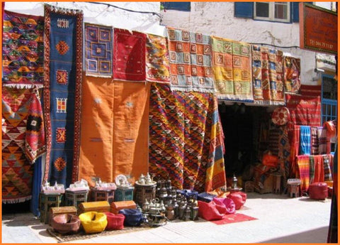 Bazar showing its Berber Rugs Ouarzazate city
